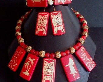 Hibiscus carved bamboo set