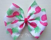 Pineapple Bow -  White and Pink Pinwheel - No Slip Velvet Grip Hair Clip