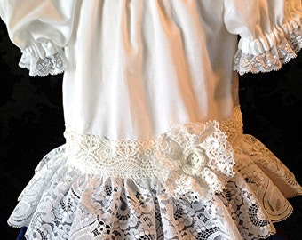 Red white blue vintage lace peasant Toddler, Baby dress July 4th patriotic rustic by Rosanna Hope for Babybonbons