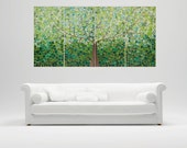 """XL Painting 72""""x 36"""" Abstract acrylic painting Contemporary landscape Impasto tree art ready to hang """"Oxygen"""" by QIQIGALLERY"""