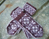 Handknit Mohair and Wool Blend Norwegian Rose Design Cuff Mittens Dark Burgandy tweed and White