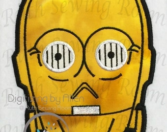 Star Wars C3PO Head Applique, Applique Embroidery Design