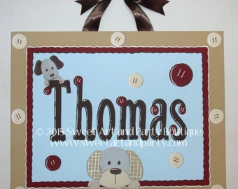 Puppy Dog Plaid Buttons custom personalized canvas name sign art baby nursery children decor monogram painting red tan brown blue buttons