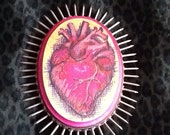 ANATOMICAL HEART with NAILS Marker Drawing on Wooden Plaque