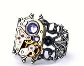 Purple Tanzanite Steampunk Ring December Birthstone Swarovski Crystal Steam Punk Steampunk Jewelry Victorian Style by London Particulars