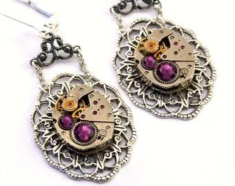 Steampunk Earrings Purple Amethyst February Birthstone Swarovski Crystal Watch Movement Earrings Steampunk Jewelry by London Particulars