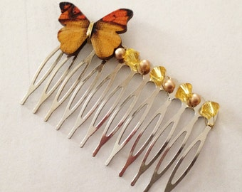 Butterfly Hair Comb - Wedding / Girls Hair Accessory Woodland Wedding Yellow Monarch, Pink or Blue Morpho