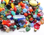 1 oz colorful mixture of czech glass beads / assorted quality firepolish and pressed glass beads / glass bead grab bag