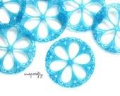 2pc turquoise blue vintage filigree flower / large lucite filigree flower / vintage flower bead