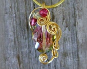 Rainbow Quartz Wire Wrapped Pendant Necklace in Gold Toned Silver Plate Wire