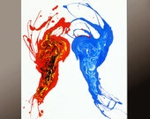 Abstract Art Painting on Canvas 24x36 Original Contemporary Bird art Paintings by Destiny Womack - dWo - Fire & Ice