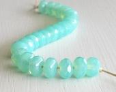 25 Milky Seafoam Faceted 4x7mm Rondelles - Czech Glass Beads