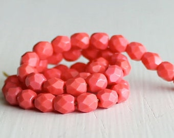 50 Opaque Medium Coral Faceted 4mm Czech Glass Rounds
