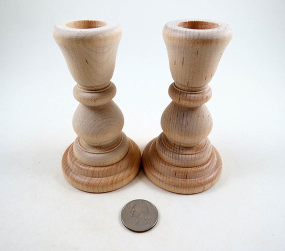5 wood candle holders candlesticks diy wedding wedding supplies 4 inch unfinished wooden - Unfinished wood candlestick holders ...