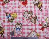 KITTEN CHECK Pink Kitty Vintage Valentine Japanese Cotton Quilt Fabric by the Yard, Half Yard, or Fat Quarter Fq Quilt Gate Pocket Cat Cats