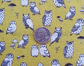 Tiny OWLS CANVAS Chartreuse Green Oatmeal Black Echino Decoro Japanese Fabric Import Lightweight Canvas Japan PA-29700-700D by Etsuko Furuya