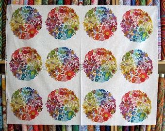 EX LIBRIS White Cream Multi PANEL Andover Fabrics Cotton Quilt Fabric by Yard or Panel Art Theory by Alison Glass Colorful Patterned Circles