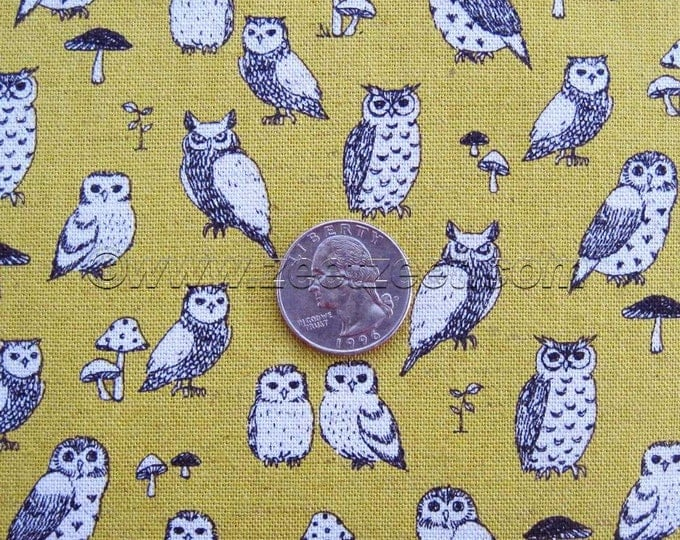 Tiny OWLS CANVAS Chartreuse Green Oatmeal Black Echino Decoro Japanese Fabric Import Lightweight Canvas Japan PA-29700-700D by Etsuko Furuya