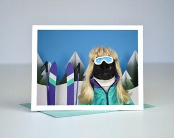 AC the Ski Bunny Greeting Card