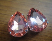 Lot of 2 18x13mm Light Peach Pear Shaped Chinese Rhinestone in Sew On settings
