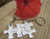 Her one His only puzzle pieces Valentines Day Key chains set of two puzzle pieces for lovers husband wife boyfriend girlfriend
