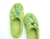 Felted slippers KATE in green & yellow Custom made colors any sizes