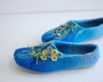 Felted slippers KATE in blue azure Custom made colors any sizes