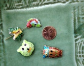 Cloisonne Beads - 4 pieces - 4 animals - Fish Owl Butterfly Cat Face