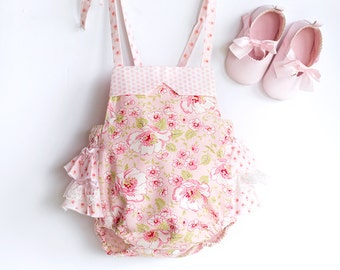 Pink Blooms Baby Bubble Romper Newborn