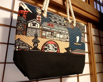 Japanese Tote Bag, Peek-A-Boo Daruma Large Canvas Tote Bag with Rope Handles, Castle Pagoda Mt Fuji Torii, Navy Red Tan Black White, Ocean