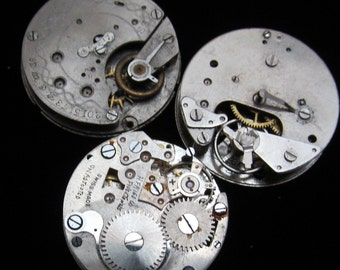 Vintage Antique Round Watch Movements Steampunk Altered Art Assemblage N 73
