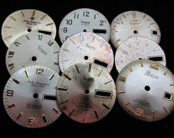 Vintage Antique Watch Dials Steampunk  Faces Parts Altered Art Industrial L 10