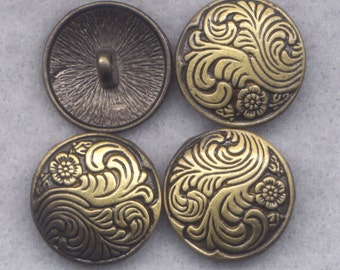 Ornate Shank Buttons Sturdy Metal Buttons 18mm (3/4 inch) Set of 4/BT332