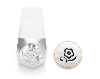 Blossom Design Stamp, Metal Stamp, 6mm, Carbon Steel Design Stamp, ImpressArt Design Stamp, SC1514-A-6MM, Flower Design Stamps