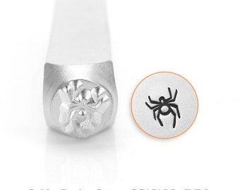 Spider Design Stamp, Metal Stamp, 6mm, SC1515-L-6MM, Carbon Steel, ImpressArt Design Stamp, Spider Design Stamps, Halloween Stamps