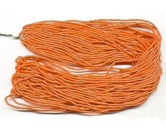Vintage Bugle Beads Orange Coral Luster Micro Size Circa 1920s 18 Strand Hank