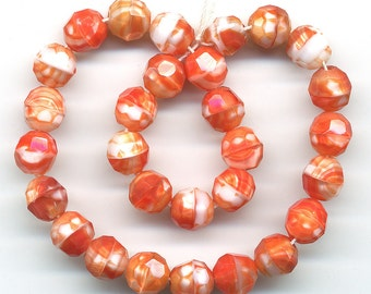 Vintage Orange & White Beads 7mm Faceted Givre Glass, 30 Pcs., Western Germany