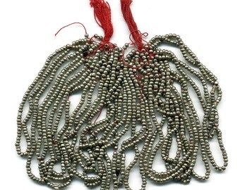 Vintage Seed Beads Silver Metal Look Glass, Smooth, Size 13, Two Partial Hanks, 18 Strands Total