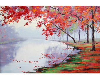 Trees Oil Painting Canvas Wall art Clorful Landscape Painting by Graham gercken