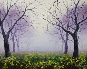 Trees Oil Painting Canvas Wall art Misty Landscape Painting by Graham gercken