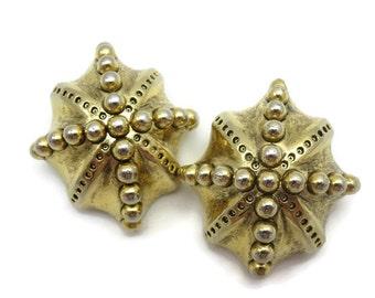 Brutalist Jewelry - Gold Sea Urchin Earrings, Large Earrings, Vintage Catherine Stein, Clip Earrings, Designer Costume Jewelry