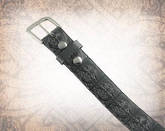 Medusa Belt - Black - Black Leather Belt, Leather Belt, Mens Leather Belt, Women's Leather Belt, Genuine Leather Belt, Belt