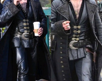 Custom Made leather Killian from Once Upon a Time Capatin Hook Adult 4 pc costume with coat, vest, shirt and pants