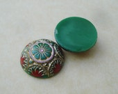 18mm Opaque Green Czech Preciosa Mosaic Flat Back Pressed Glass Dome Cabs with Hand Painted Floral Design (2 pieces)