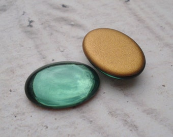 6 Vintage 18x13mm Turmaline Green Gold Foiled Flat Back Oval Glass Cabs or Stones