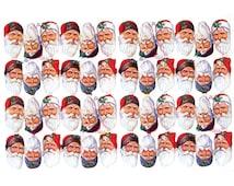 England Paper Scraps Victorian 48 Santa Faces Christmas Die Cut Embossed Scraps  874