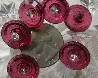 6 Vintage Plastic And Glass Buttons Fuchsia Magenta With Rhinestones 5/8 Inch  #33