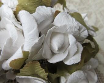 Paper Flowers 12 Millinery White Atlantic Roses