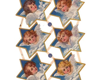 Germany Paper Scraps Lithographed Die Cut Victorian Angels  7439