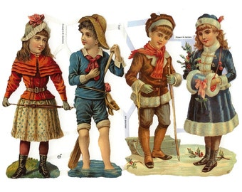 Germany Paper Scraps Lithographed Die Cut Victorian Children  7137